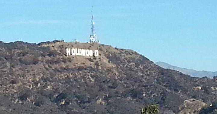 The Hollywood sign, viewed from a distance